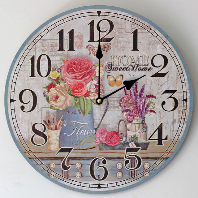 Pastoral  Wooden Wall  Clocks Decorative Wall Hanging Clock Creative  Colored Drawing Flower Pattern Home Decor Gifts Crafts
