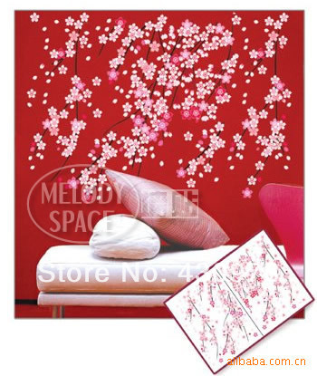 QZ1251 Free Shipping 1Pcs AB Sides Falling Flower Plum Blossom Branch Removable PVC Wall Stickers <font><b>Elegant</b></font> Fancy <font><b>Home</b></font> <font><b>Decoration</b></font>