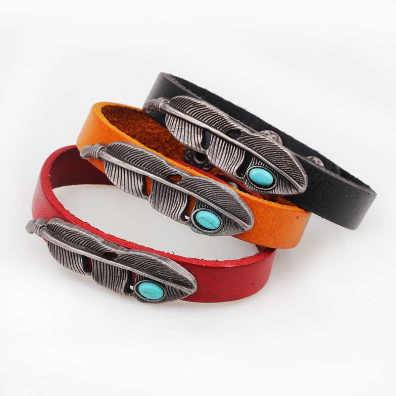 Горячее предложение, модные Винтаж сплав перо кожаные браслеты, бижутерия для Для женщин Для мужчин pulsera lederen браслет на предплечье человек