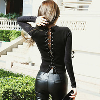 2016 New Fashion Sexy Backless Slim T Shirt Women Crop Top Long Sleeves T Shirt Women