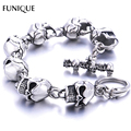 FUNIQUE Men Charm Bracelet 316L Stainless Steel Skulls Gothic Punk Bangle Bracelet For Boyfriend & Girlfriend Jewelry Gift 22cm