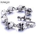 Funique homens charm bracelet aço inoxidável 316l skulls gothic punk pulseira para namorado & jóias namorada presente 22 cm