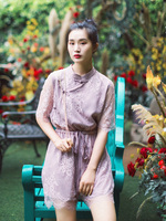 IRINAY544 2019 ss collection vintage chinese style short lace jumpsuits overalls women