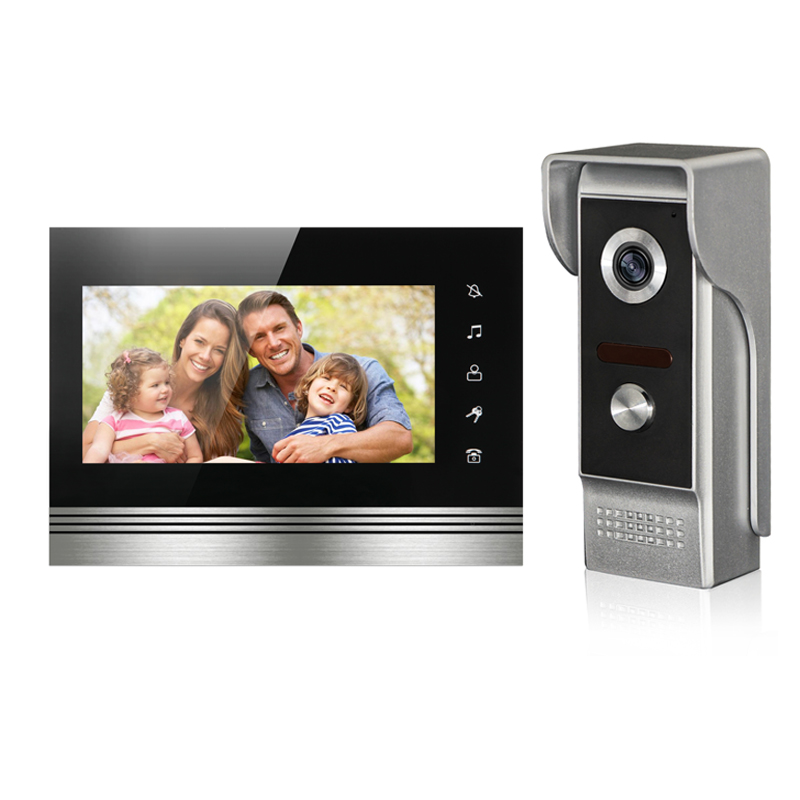 New Arrival Wired Video Door Phone Intercom System 7'' TFT-LCD Monitor With IR COMS Outdoor Camera Video Door Bell FREE SHIPPING 7inch video door phone intercom system for 5apartment tft lcd screen 5 flat indoor monitor with night vision cmos outdoor camera