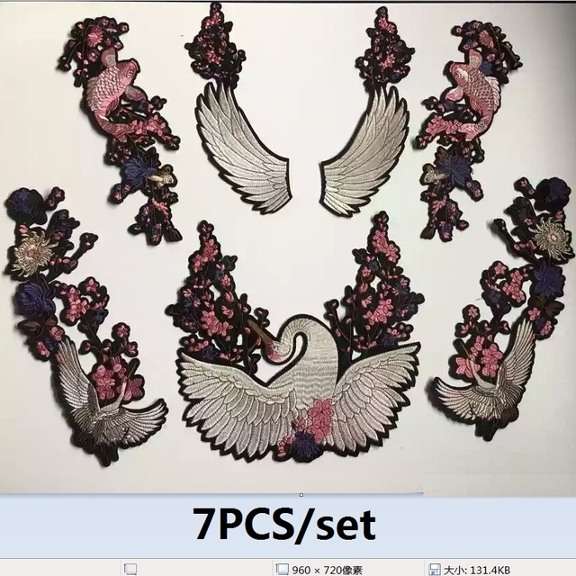 7 шт./компл. китайский цветок японского журавля патчи Золотая рыбка сливы вышитая аппликация патч знак Утюг на вышивка бренда патч