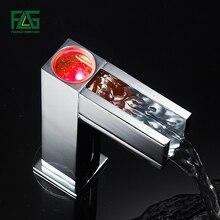 FLG сенсор кран водопад автоматический светодиодный, медь 3 цвета Изменение бассейна сенсор смесители для умывальника ванная комната