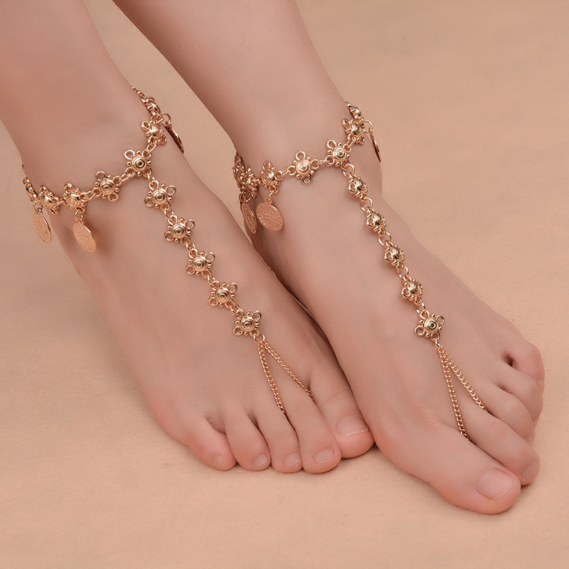 Fashion Boho Sexy Anklet Alloy Floral Antique Coin Pendant Tassels Anklets Sexy Beach Foot Jewelry for Charm Women
