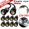 10Pcs 18mm 6000k White Eagle Eye Motor Car Tail Brake Turn Singal FOG LED Light
