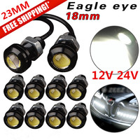 10Pcs 18mm 6000k White Eagle Eye Motor Car Tail Brake Turn Singal FOG LED Light