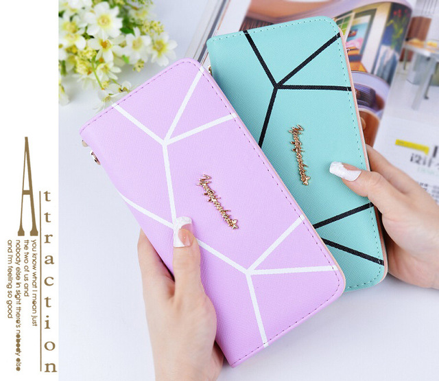 Fashion  line pattern wallet long  women's zipper PU wallet fashion wrist strap women's handbag