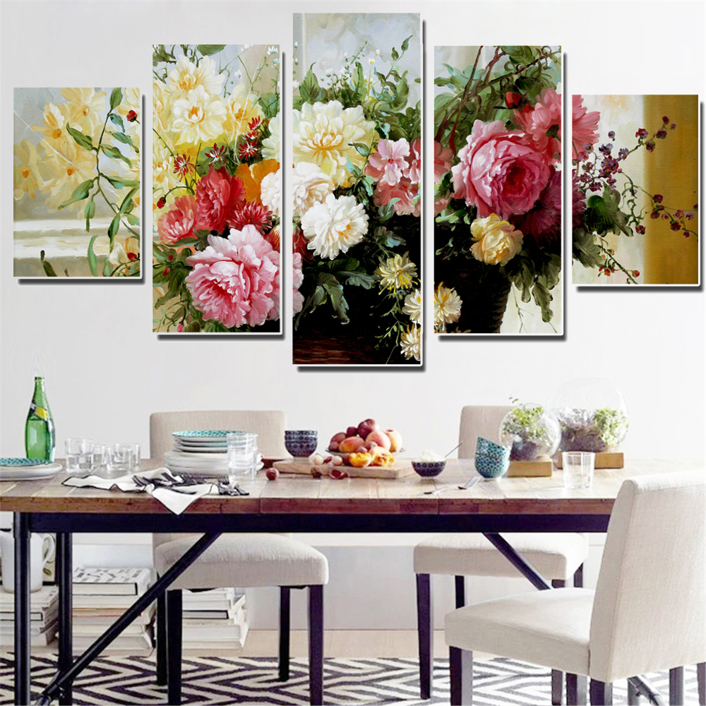 Frameless Oil Painting Colorful Flowers Modular Canvas Picture Wall Poster Home Decoration Print on Canvas for Wall Decor 5pcs