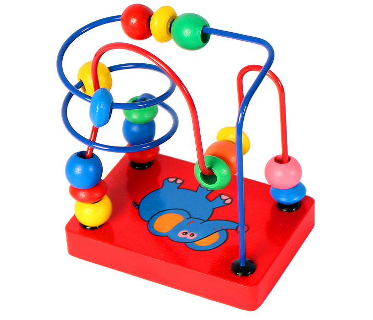 Children s Wooden Toys Tandem Beads Fingers Flexibility Exercise Color Recognition Puzzle Toys