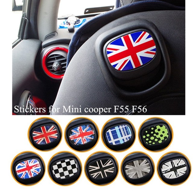 For mini cooper jcw one f56 f55 rainbow paul smith union jack back seat sticker interior