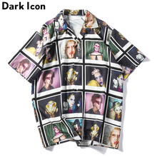 Dark Icon 3D Printing Vintage Shirts Men Summer Short Sleeve Mens Shirt Street for 2019
