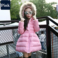 2016 New Winter Fashion Kids Solid Long Coat Down Jackets For Girls Children Clothes Girl Reima Parka Fur Collar Outerwear Tok
