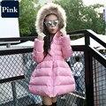 2016 Nova Moda Inverno Crianças Casaco Longo Sólida Para Baixo Casacos para Meninas Crianças Roupas Menina Reima Parka Gola De Pele Outerwear Tok
