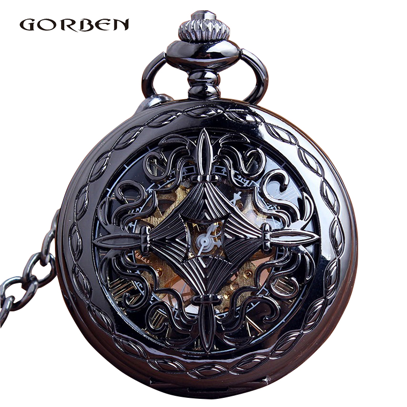 Retro Mechanical Hollow Black Vintage Pocket Watch Steampunk Skeleton Hand Wind Pocket Fob Watches For Men Relogio De Bolso New