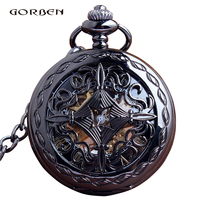 Retro Mechanical Hollow Black Vintage Pocket Watch Steampunk Skeleton Hand Wind Pocket Fob Watches For Men