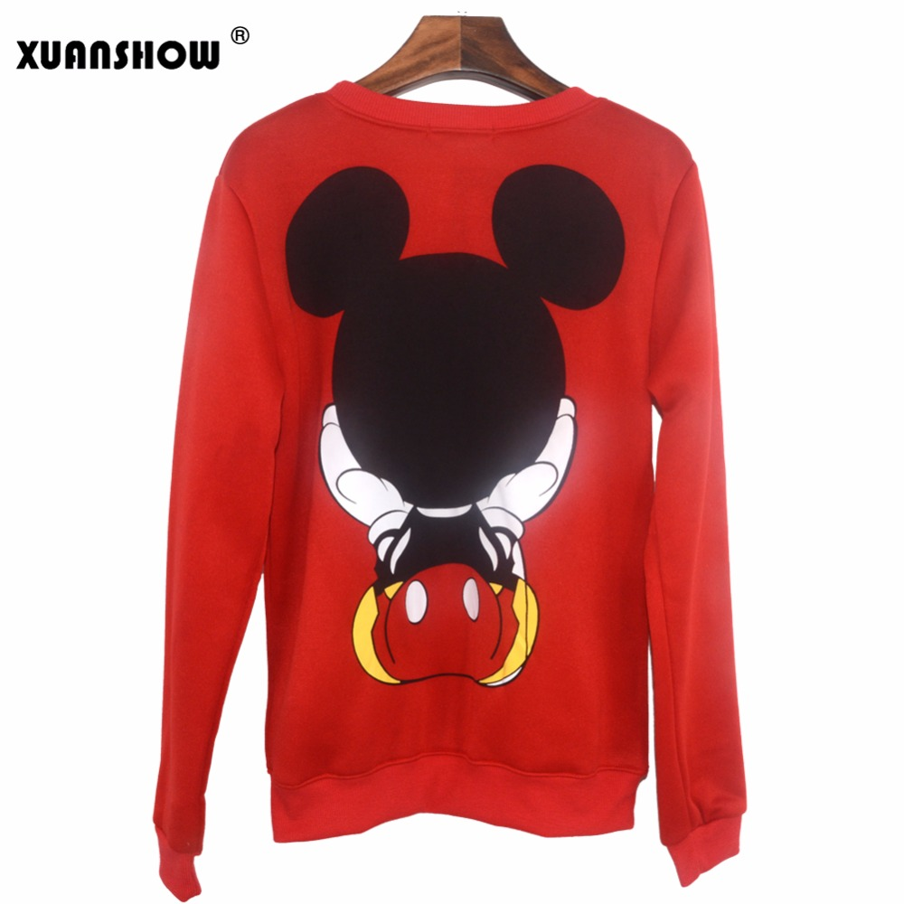 XUANSHOW 19 Women Sweatshirts Hoodies Character Printed Casual Pullover Cute Jumpers Top Long Sleeve O-Neck Fleece Tops S-XXL 9
