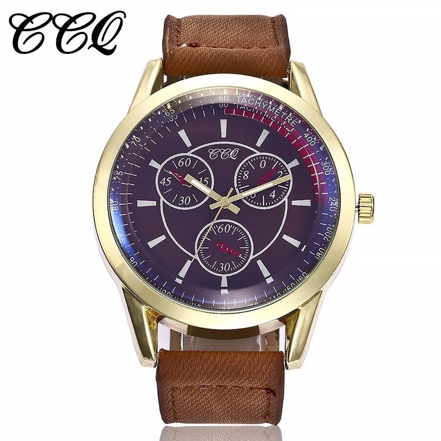 CCQ Men Sports Quartz Watches Top Brand Leather Strap Casual Fashion Men's Military Wristwatches Male Clock Relogio Masculino серьги nikolskaya серьги