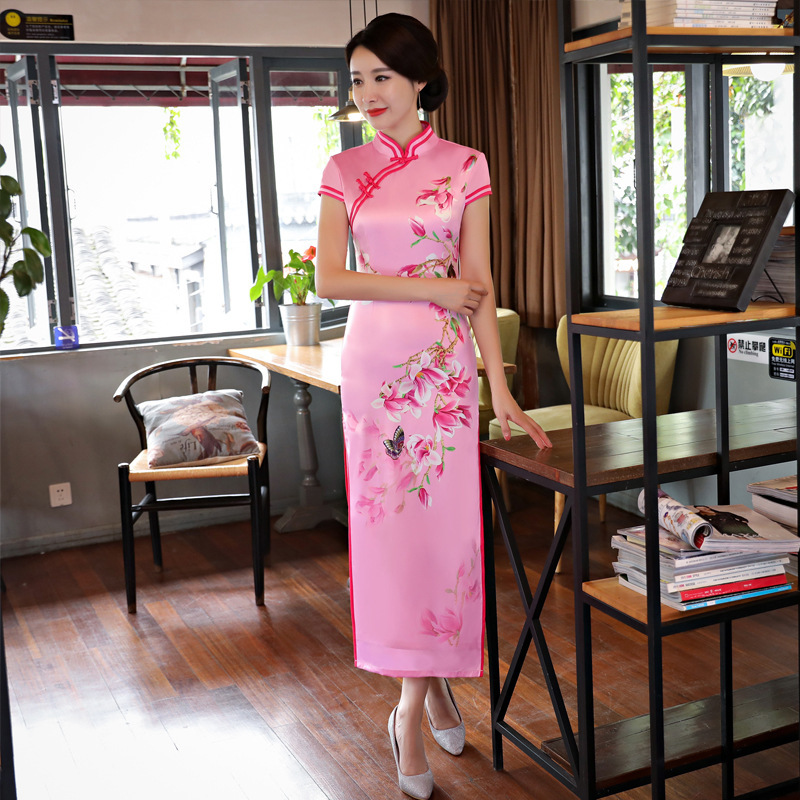 2017 Long Modern Cheongsam Red Qipao Ladies Chinese Dress Chinese Traditional Women Clothing Oriental Suits Robe Chinois