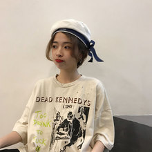 Fashion Beret Hat Women Winter Warm Harajuku Wool Female with Bowknot Soft Bow Elegant for Girls 2019 New