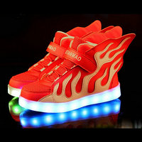 2017 New Fashion Kids Sneakers LED Luminous USB Rechargeable Boys Casual Shoes Size 25 37 Girls