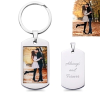 Sweey Droshipping Personalized Jewelry Best Gift Personalized Couples Dog Tag Necklace Photo Dog Tag Keychain/Necklace for Dad