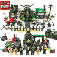 Enlighten Military Educational Building Blocks Toys Compatible Legoe Fighter Tank Weapon Lepine Brick Toy For Children