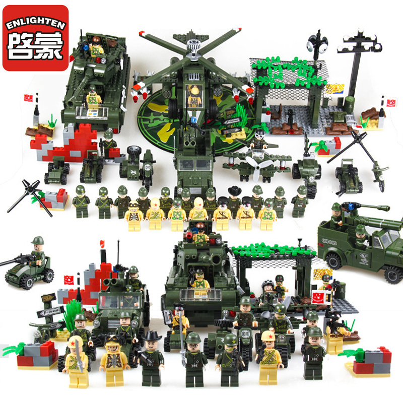 Enlighten Military Educational Building Blocks Toys Compatible Legoings Fighter Tank Weapon Lepine Brick Toy For Children Gifts enlighten 1406 8 in 1 combat zones military army cars aircraft carrier weapon building blocks toys for children