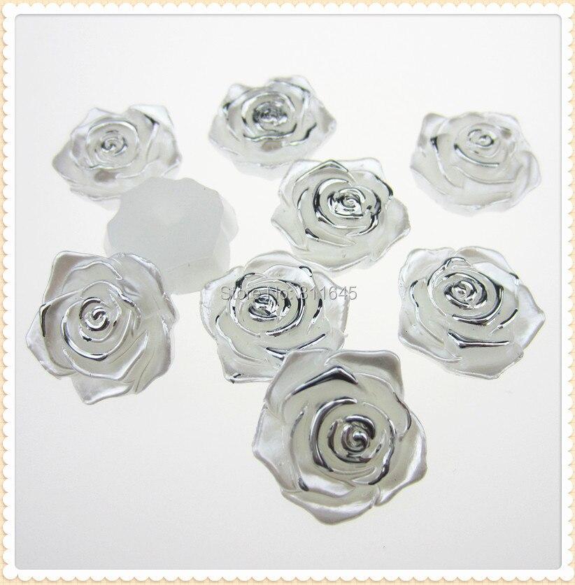 Бесплатная доставка 10 шт. 18 мм белый кабошон Пластик цветок Flatback имитация жемчуга Бусины Fit записки телефон украшение