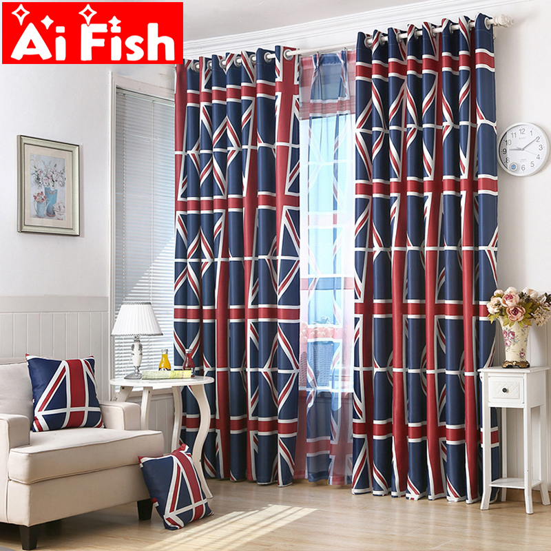 Koeran Style Eco-friendly Insulation Shading Fabric Classic British Models Flag Panel Window Curtains For Living Room AP333-30