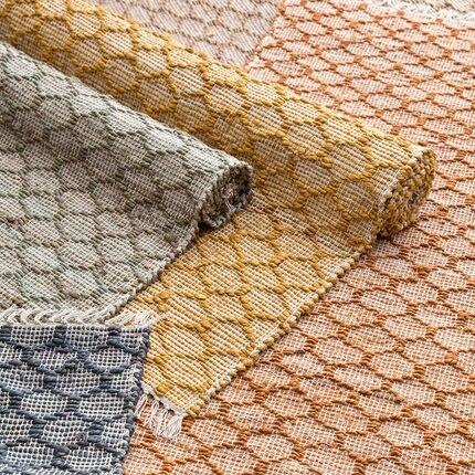 Tapis de Jute fabriqués à la main de Style nordique pour la chambre à coucher de salon tapis solides tapis de maison tapis de porte de plancher tapis de zone moderne délicat