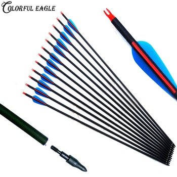 "Spine 500 Carbon Arrow 28""/30""/31"" Length with Replaceable Arrowhead Tips and Adjustable Nocks for Compound/Recurve Bow Archery"