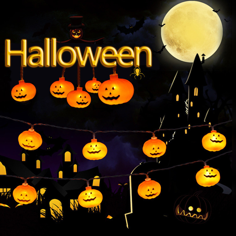 1.5m 10 Led Halloween Pumpkin Light String Home Garden Party Ghost Festival Pumpkin Led Battery Lantern String Decoration Convenient To Cook