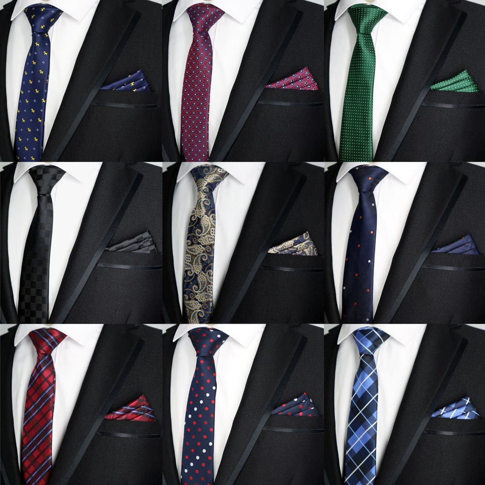 5b0159877206 17 Color 6CM Men Tie Set Skinny Polyester Silk Dots Plaids Jacquard Woven Slim  Ties Pocket