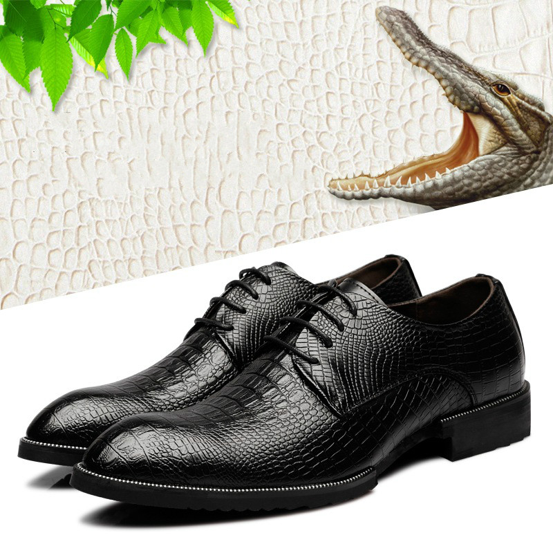 Dress casual shoes 2019 new leather retro pointed crocodile pattern with increased mens shoesDress casual shoes 2019 new leather retro pointed crocodile pattern with increased mens shoes