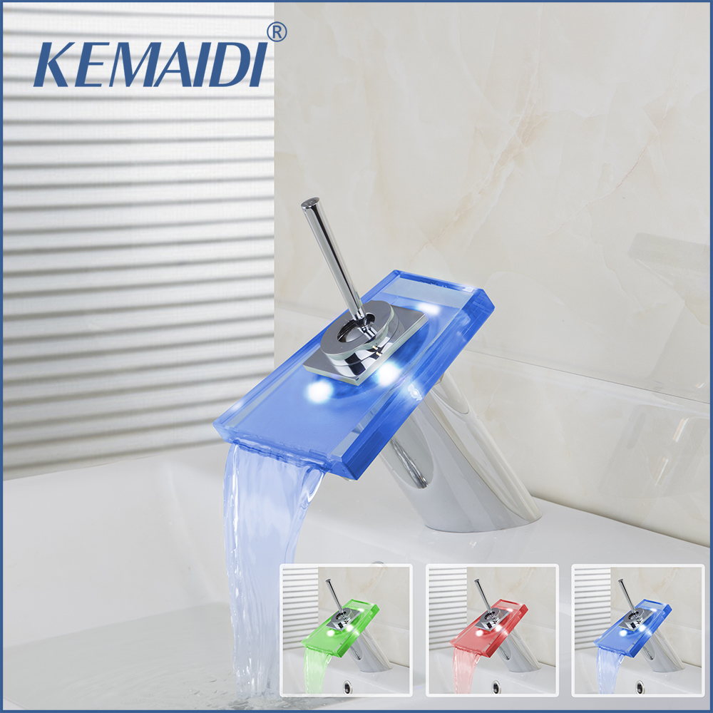 KEMAIDI 8220-3 LED Colors Changing Chrome Waterfall Bathroom Basin Sink Mixer Tap Basin Faucet