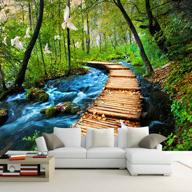 Custom 3D Photo Wallpaper Forest  Nature Scenery Large Wall Mural Paintings Living Room Bedroom Non-woven Printed Wallpaper