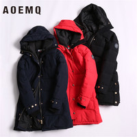 AOEMQ Hooded Neckline High Two way Zipper Waist Loose Letter Printed Ribbon Long Section Split Thick Warm Cotton Coat