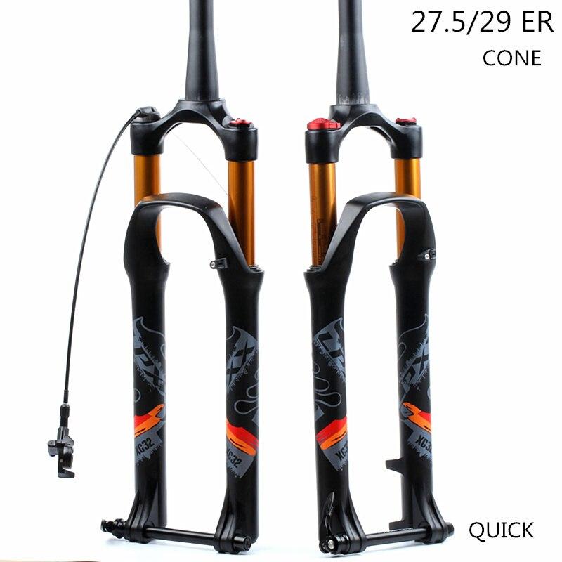 LPXX 32 RL 120 millimetri Air 27.5 29ER cono Pollici Forcella Blocco Dritto Conico Perno Passante QR Quick Release per MTB Della Bicicletta