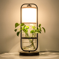Plants combine with water floor lamp Chinese style creative vertical desk lamp study bedroom retro art floor lights ZA
