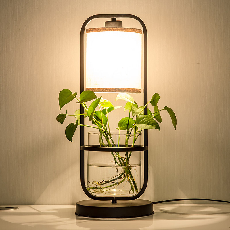 Plants combine with water floor lamp Chinese style creative vertical desk lamp study bedroom retro art floor lights ZA