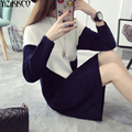2016 Winter Women Sweater New Fashion Knitted Patchwork Pullovers High Quality Sweaters Long Pull Femme Sweter Mujer SZQ058