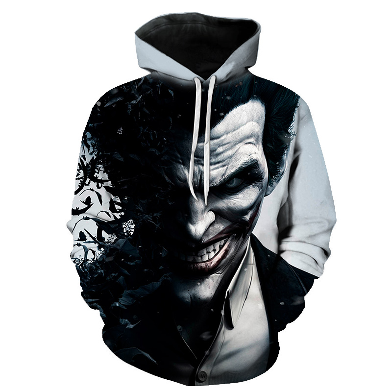 Hot Sale 2018 Autumn 328 Skull Halloween Joker Dinosaur Prints Women Jacket Hooded Femme Sweatshirt Casual Loose Men Pocket Hoodies Coat Men's Clothing