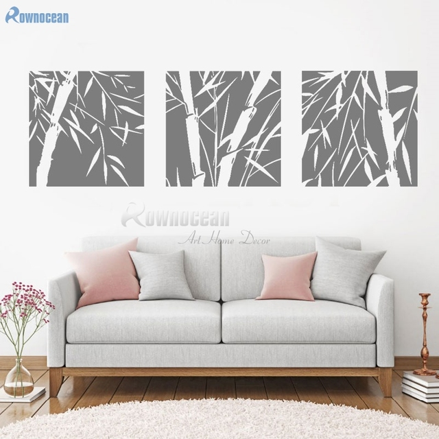 Bamboo Wall Stickers Beautiful Plant Decal For Living Room Bedroom Vinyl Home Decor Triptychs Mural Art