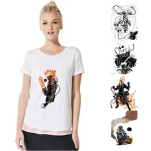 Marvel Avengers Hero Ghost Rider Summer Plus Size Loose O-NECK Modal Sleeve Womens T Shirts Fashion Casual Tee A193291