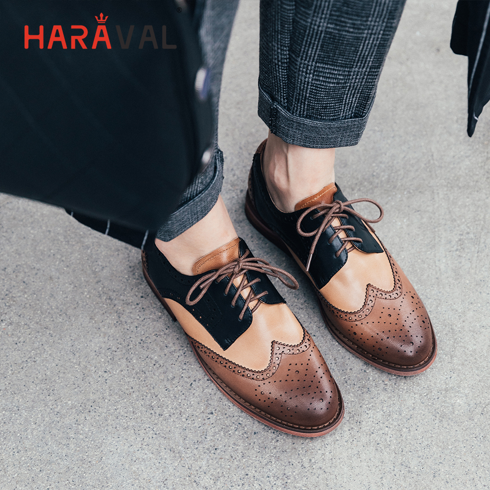 HARAVAL Fashion retro British wind round head women 39 s shoes cross straps mixed color casual shoes Brock carved Single shoes P57 in Women 39 s Flats from Shoes
