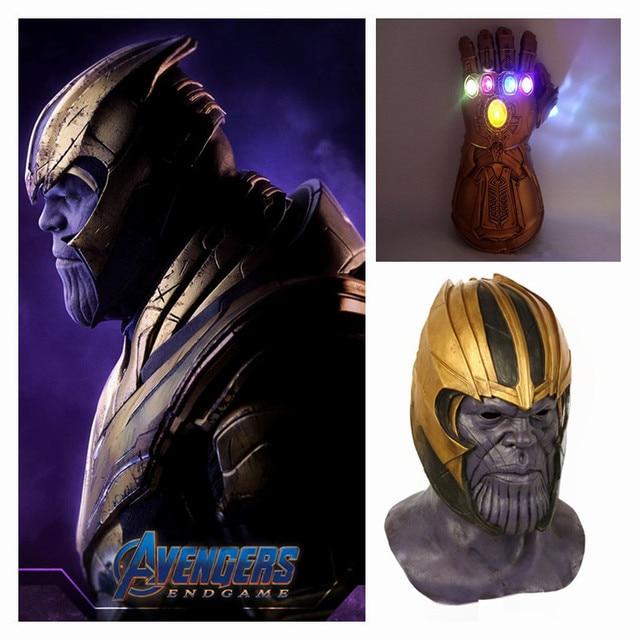 Vingadores Thanos Endgame Cosplay Máscara Capacete Infinity Gauntlet Luvas de PVC Marvel Superhero Crianças Adulto Halloween Toy Adereços Novo