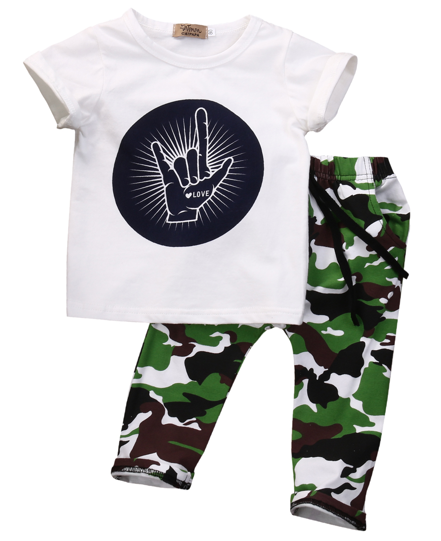 Children clothing set 2016 summer fashion Letters with short sleeves T-shirt + camouflage pants kids clothes boys sport suits